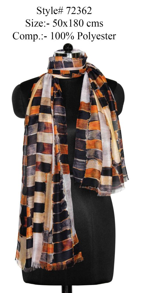 ALL OVER CHECK PRINTED STOLE IN SOFT POLYESTER FABRIC WITH EYELASH FRINGES