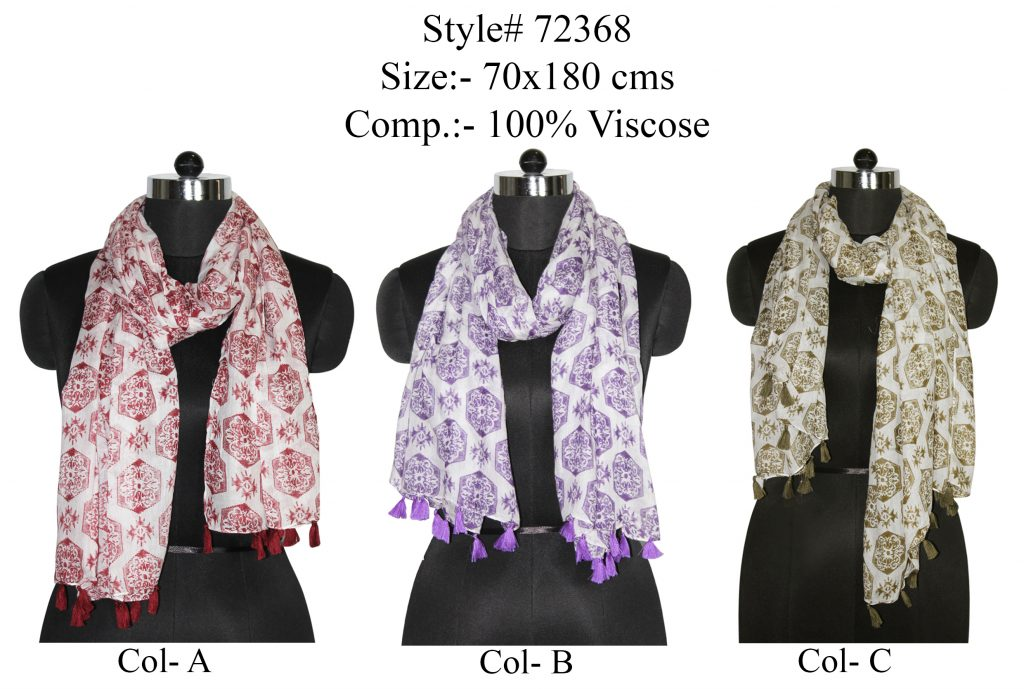 ALL OVER MOTIF DESIGN PRINTED STOLE IN SOFT VISCOSE FABIRC WITH FANCY TASSELS