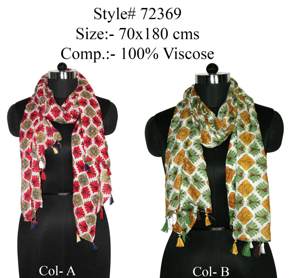 ALL OVER MODERN IKAT DESIGN PRINTED STOLE IN SOFT VISCOSE FABRIC WITH FANCY TASSELS