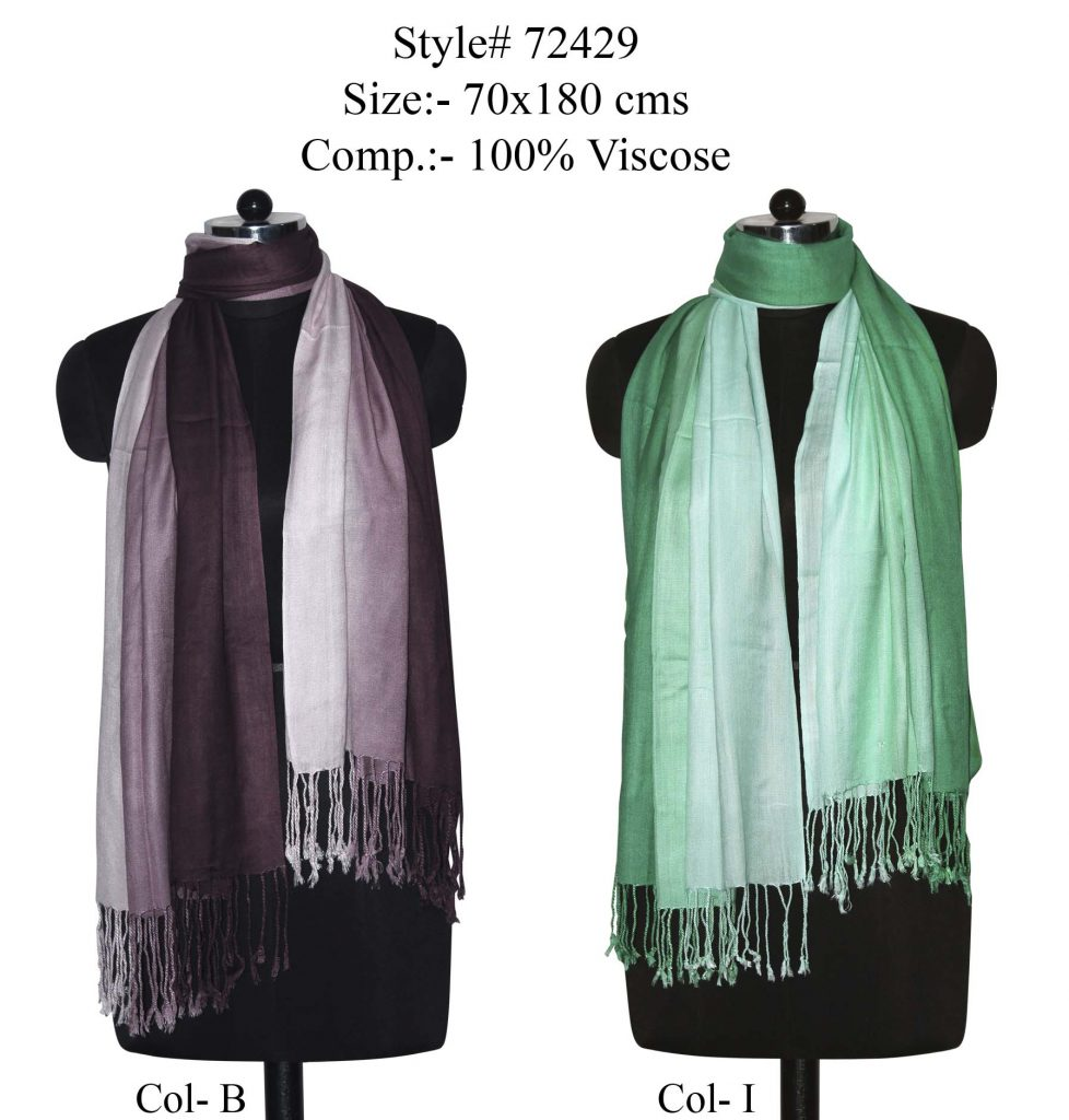 TIE DYE STOLE IN SOFT VISCOSE FABRIC WITH TWILL KNOT FRINGES