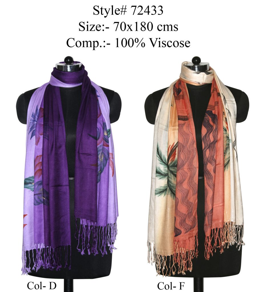 TIE DYE PRINTED STOLE ON SOFT VISCOSE FABRIC WITH TWILL KNOT FRINGES