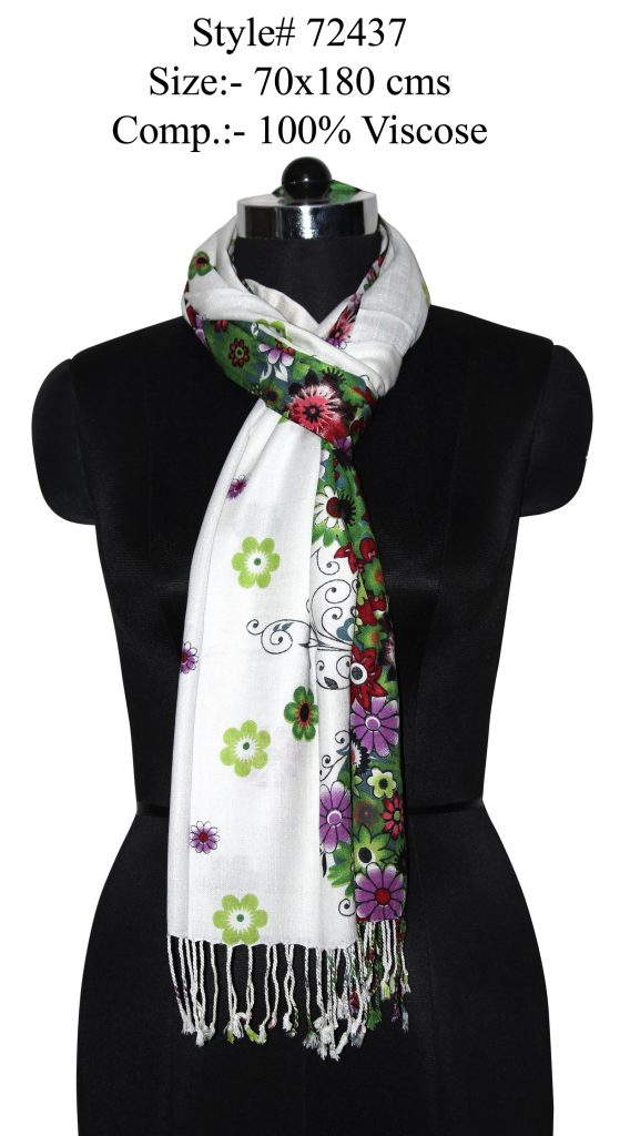 ALL OVER FLORAL PRINTED STOLE IN SOFT VISCOSE FABRIC WITH TWILL KNOT FRINGES