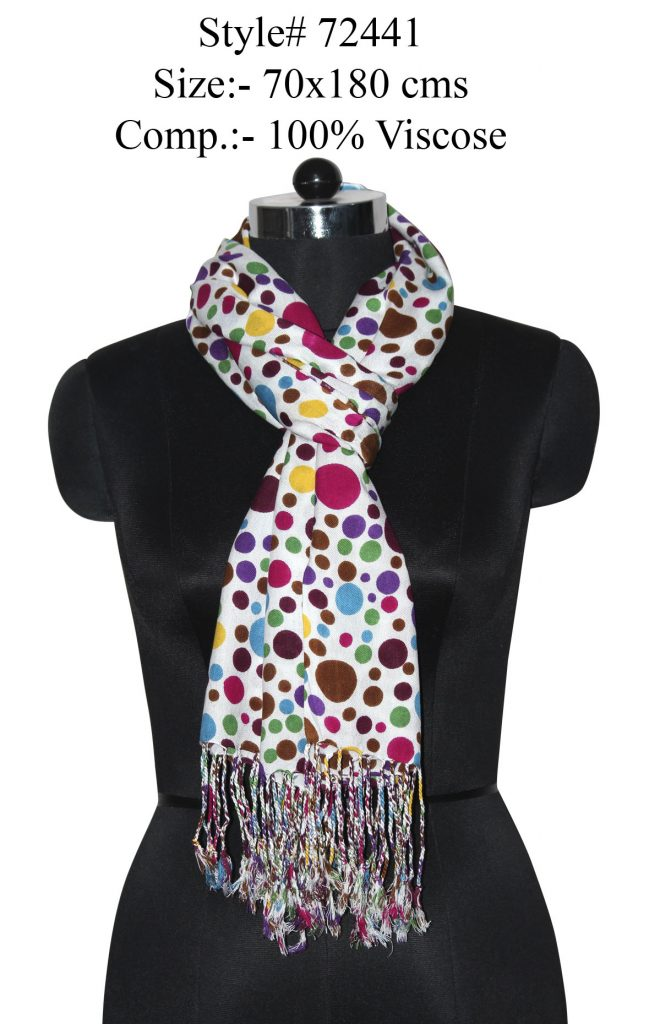 MULTI COLOURED POLKA DOT PRINTED STOLE IN SOFT VISCOSE FABRIC WITH TWILL KNOT FRINGES
