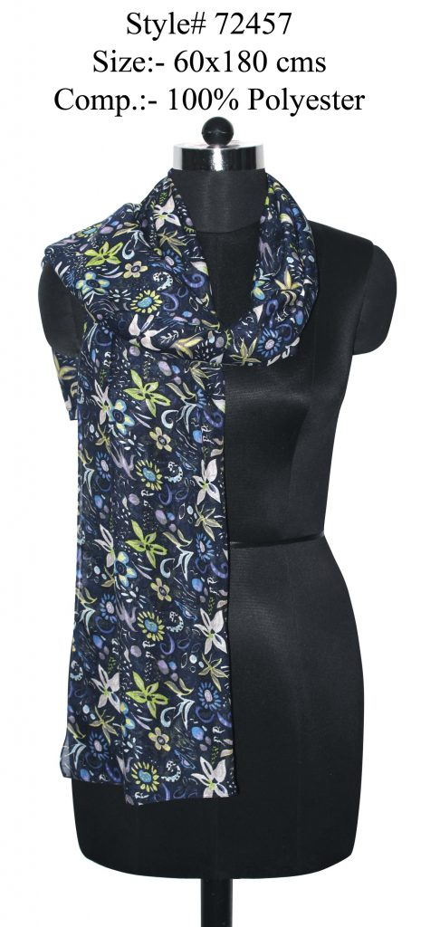 ALL OVER FLORAL DESIGN PRINTED STOLE IN SOFT POLYESTER FABRIC WITH ALL SIDES STITCHED