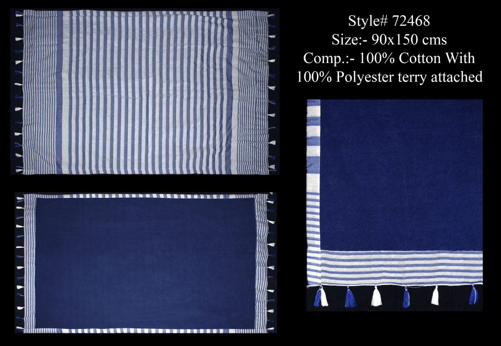YARN DYED MULTI STRIPES TERRY TOWEL IN SOFT COTTON FABRIC WITH SOFT POLYESTER TERRY WITH FANCY TASSE