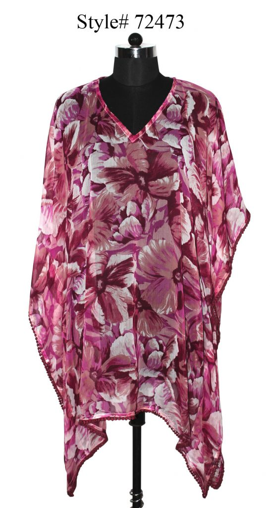FLORAL PRINTED KAFTAN WITH FANCY SMALL POM POM LACE ATTACHED FOR WOMENS.