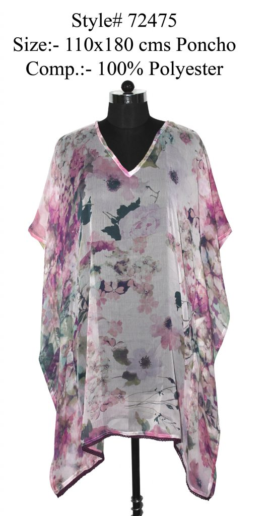 FLORAL PRINTED KAFTAN WITH FANCY LACE ATTACHED FOR WOMENS