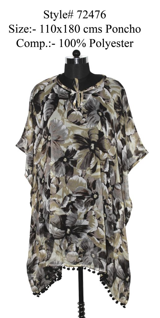FLORAL PRINTED KAFTAN WITH FANCY POM POM LACE ATTACHEDAND DORI ON NECK FOR WOMENS