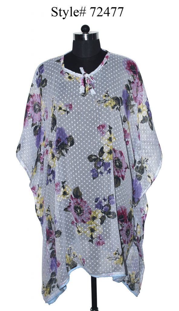 FLORAL PRINTED KAFTAN WITH FANCY POM POM LACE ATTACHED AND DORI ON NECK FOR WOMENS