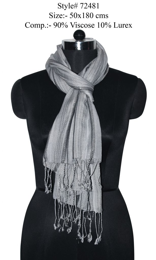YARN DYED STOLE IN SOFT VISCOSE LUREX FABRIC WITH TWILL KNOT FRINGES