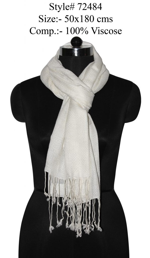 YARN DYED STOLE IN SOFT VISCOSE,COTTON FABRIC WITH TWILL KNOT FINGES