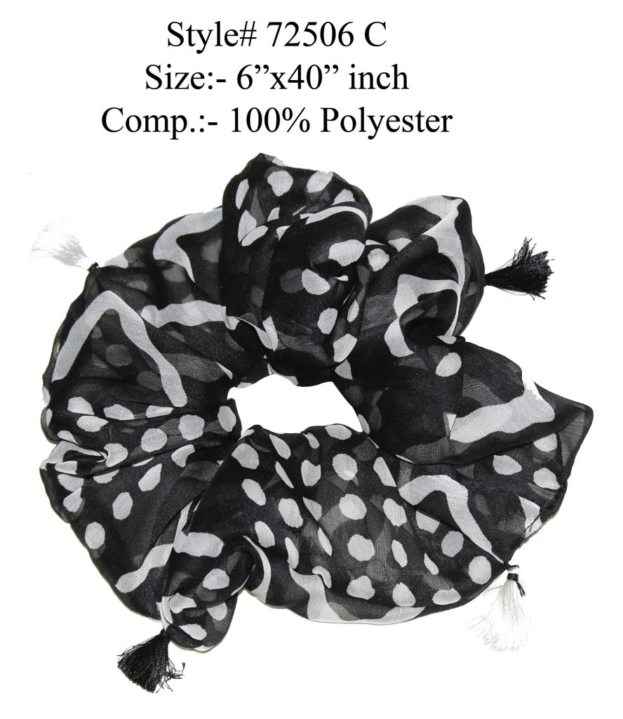 BLACK/WHITE COLORED HAIR BAND,RUFFLE