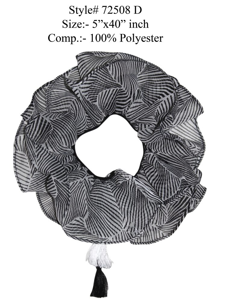 GREY/WHITE COLORED HAIR BAND, SCRUNCHIE