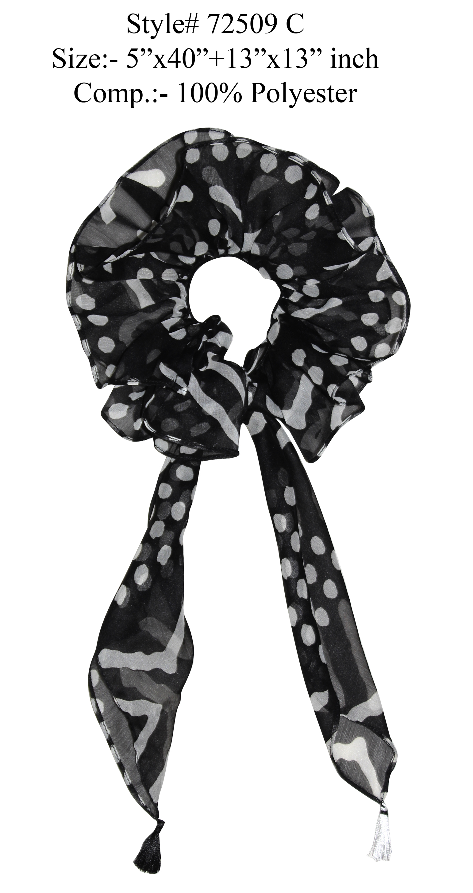 BLACK/WHITE COLORED HAIR BAND, RUFFLE
